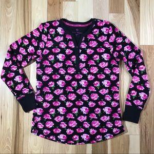 Betsey Johnson Black Henley w/ hot pink roses Sz S